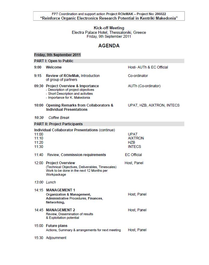ROleMak KickOff Meeting - Agenda for kick off meeting template